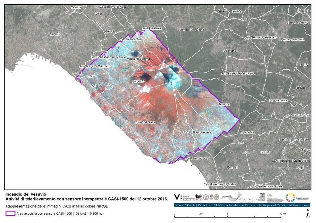 L'incendio del Vesuvio e il repertorio cartografico Benecon di analisi da satellite e di cartografia propria con sensore aviotrasportato iperspettrale