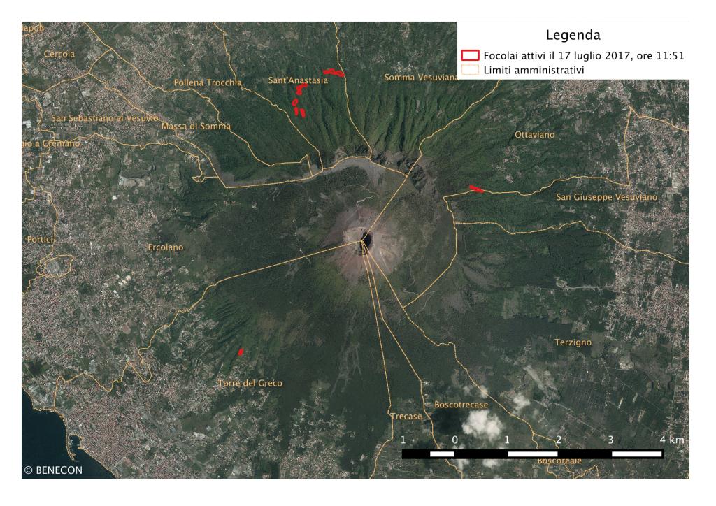 Incendi boschivi: Focolai attivi in Campania il 17/7/2017