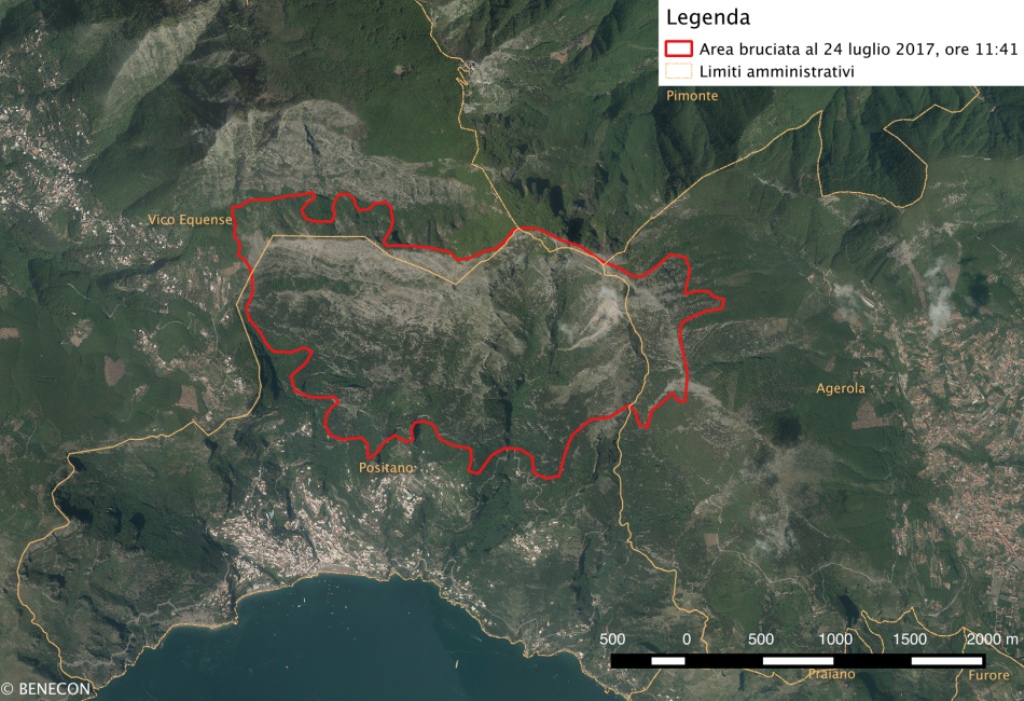 Incendi boschivi in Campania: Proseguono le attività del CdC Benecon