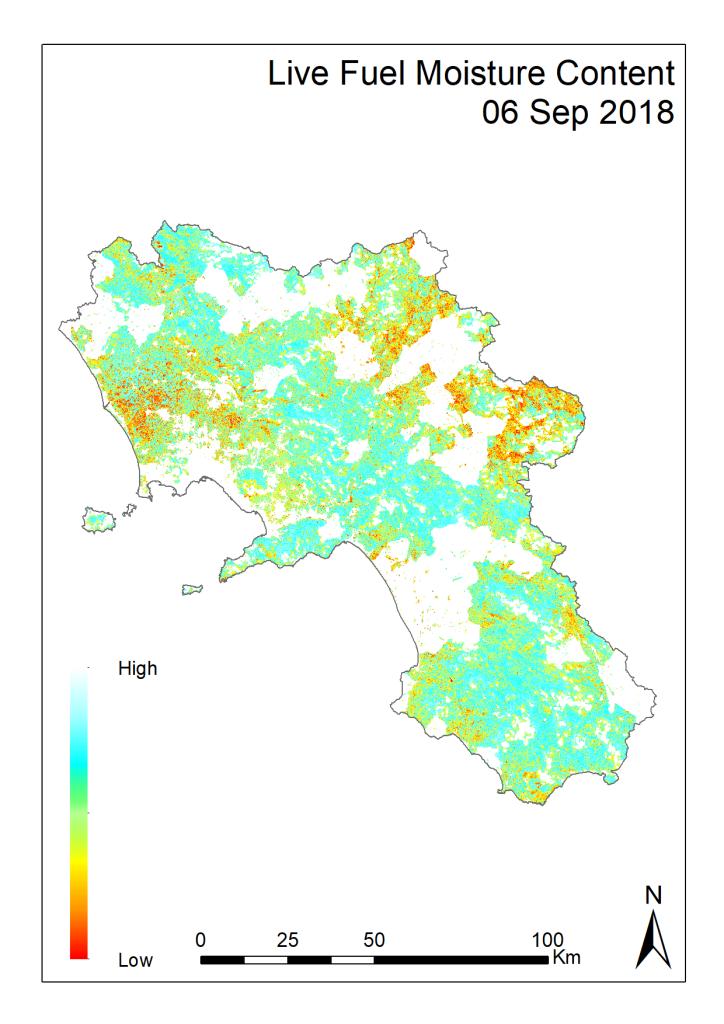 Ultimo aggiornamento della mappa di pericolosità d'incendio in Campania