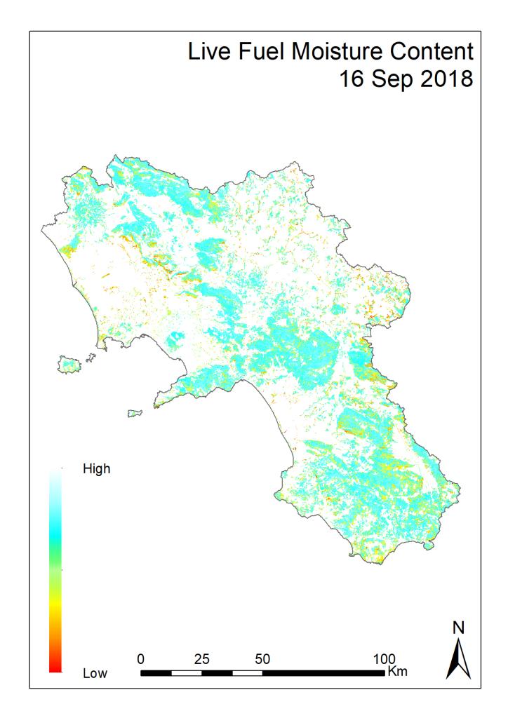 Nuovo aggiornamento della mappa di pericolosità d'incendio in Campania