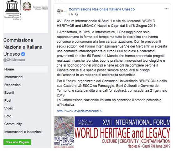La Commissione UNESCO Italia promuove il XVII Forum World Heritage and Legacy