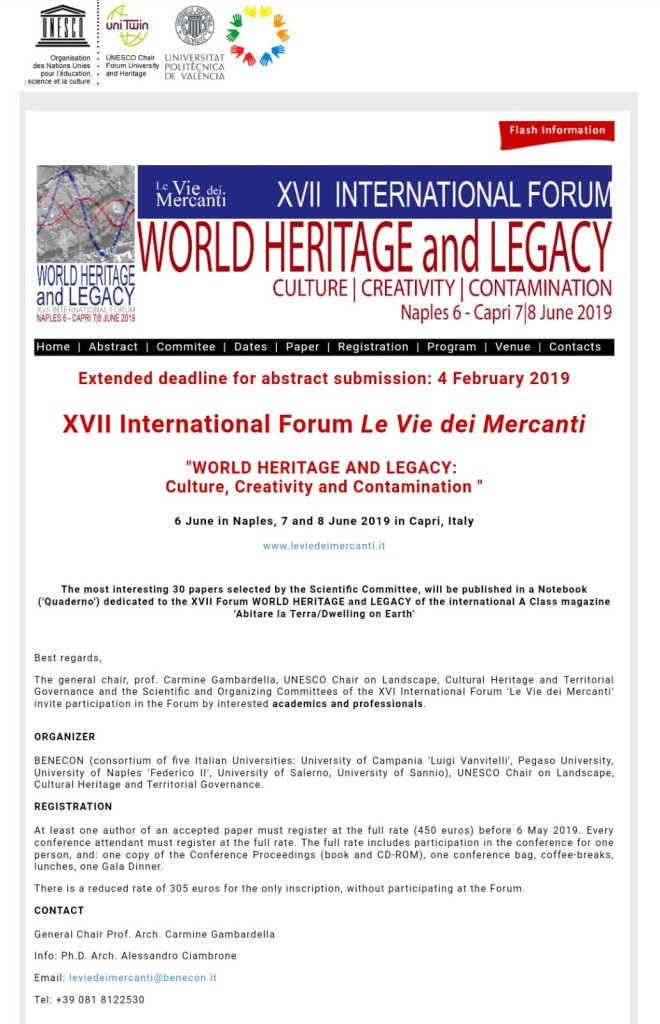EXTENDED DEADLINE: 4 FEBRUARY 2019 – 'XVII International Forum Le Vie dei Mercanti: World Heritage and Legacy' (6-8 June, Naples-Capri. Italy)
