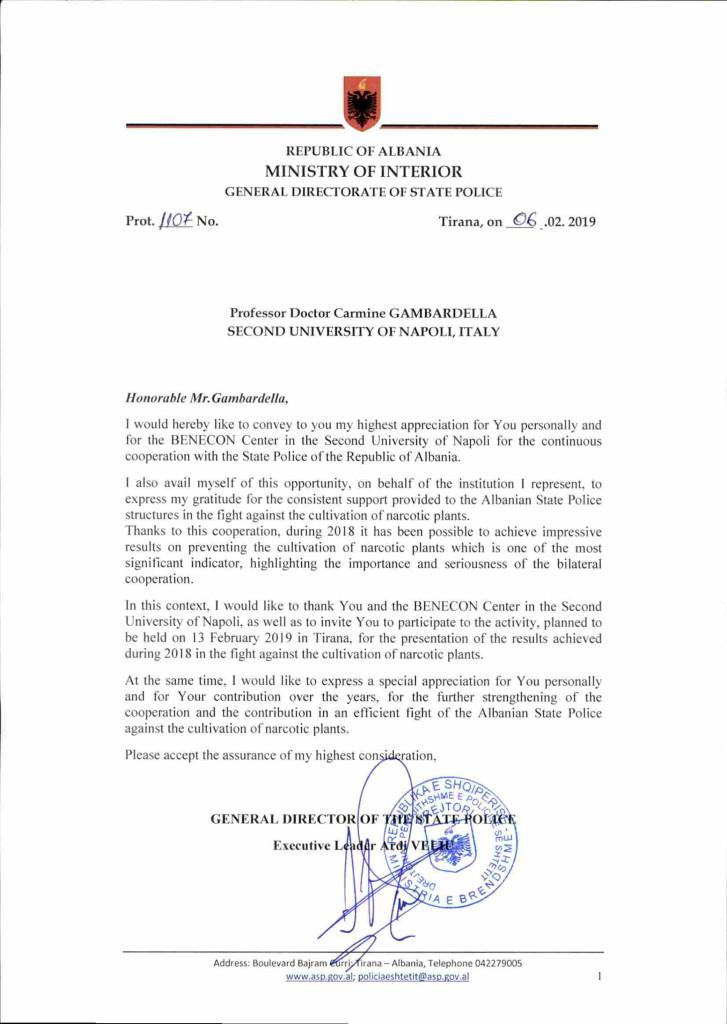 Lettera del Direttore Generale della Polizia di Stato Albanese al Prof. Carmine Gambardella