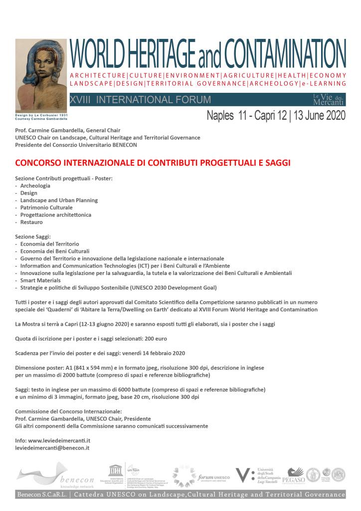 CONCORSO INTERNAZIONALE DI CONTRIBUTI PROGETTUALI E SAGGI_XVIII International Forum WORLD HERITAGE and CONTAMINATION