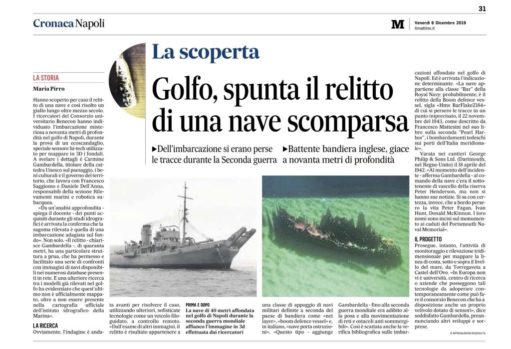 La scoperta. Golfo di Napoli, spunta il relitto di una nave scomparsa (Il Mattino, 6 dicembre 2019)