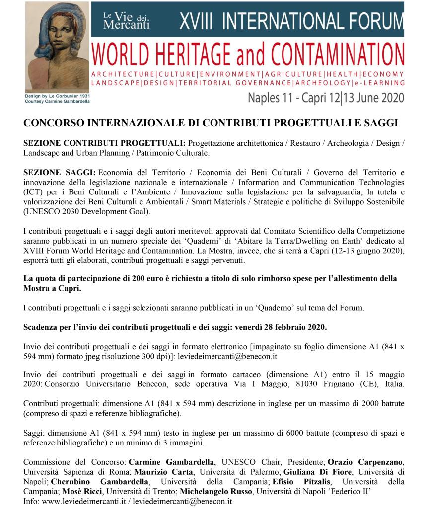 CONCORSO INTERNAZIONALE DI CONTRIBUTI PROGETTUALI E SAGGI