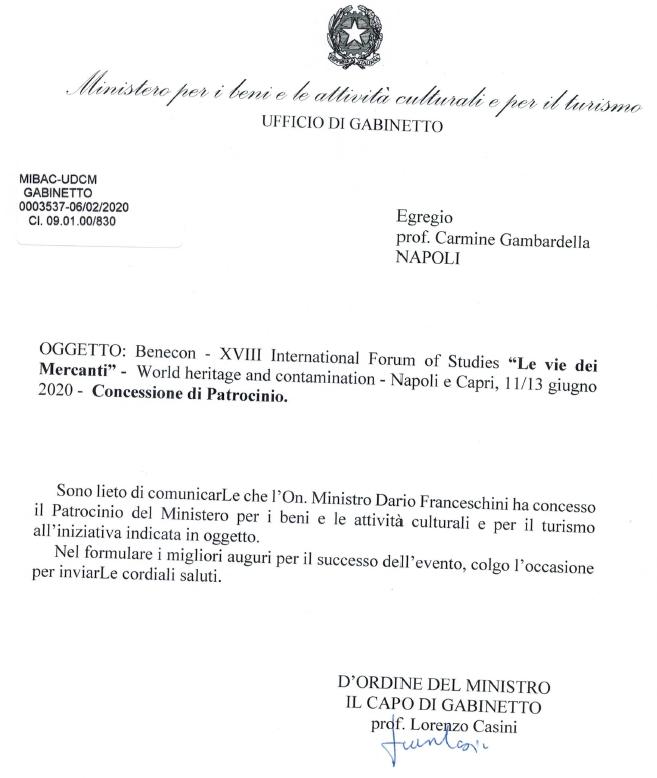 Concessione di patrocinio MIBAC per il XVIII Forum