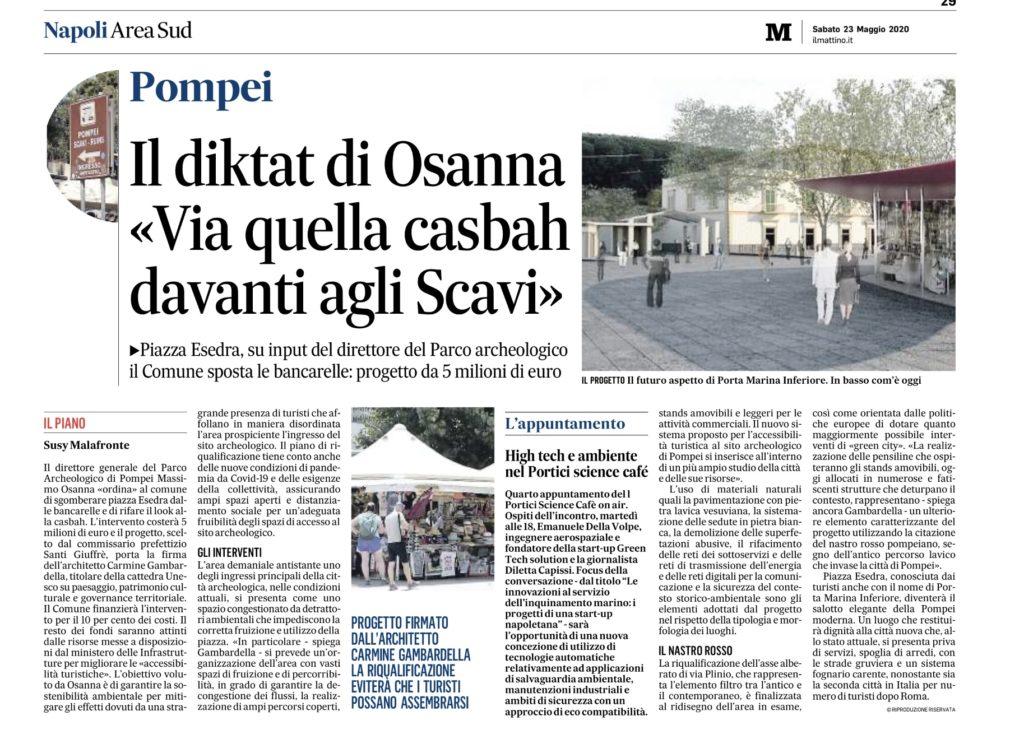 Progetto del Prof. Carmine Gambardella per la rigenerazione di Piazza Esedra – Pompei